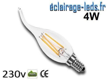 Ampoule led E14 coup de vent 4w Blanc Chaud 230v