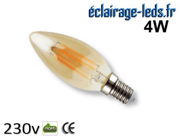 Ampoule led E14 flamme vintage 4w Blanc Chaud 230V