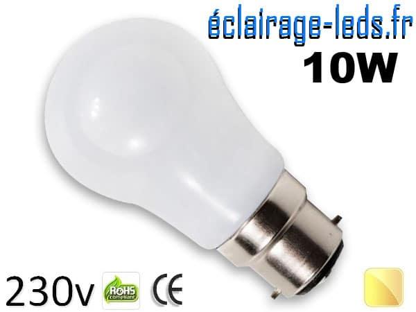 Ampoule led B22 liquide 10w SMD blanc chaud 3000K 230v