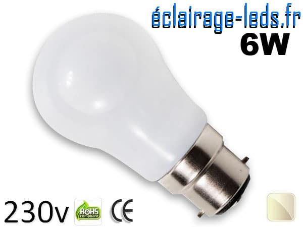 Ampoule led B22 liquide 6w SMD blanc naturel 4500K 230v