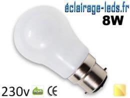 Ampoule led B22 liquide 8w SMD blanc chaud 3000K 230v AC