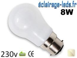 Ampoule led B22 liquide 8w SMD blanc naturel 4500K 230v