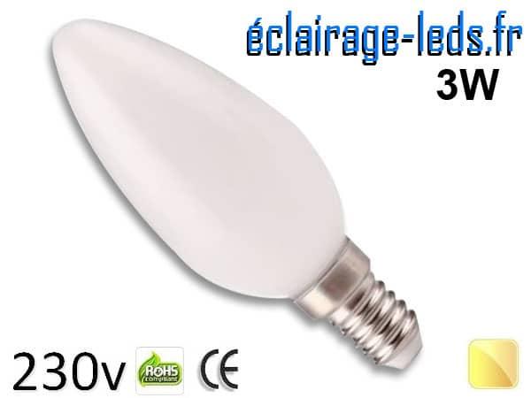 Ampoule led E14 liquide 3w blanc chaud 3000K 230v