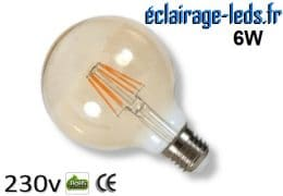 Ampoule led E27 vintage 6w COB Filament blanc chaud 230v
