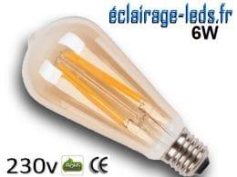 Ampoule led E27 vintage 6w COB Filament blanc chaud 2300K 230v AC