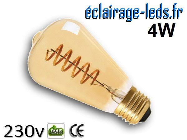 Ampoule led E27 vintage 4w COB Filament blanc chaud 2300K 230v AC