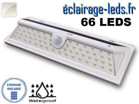 Applique solaire 66 LEDs design blanc extérieur