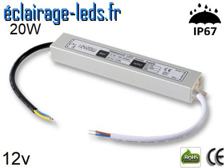 transformateur led 12v dc 20 watts ip67
