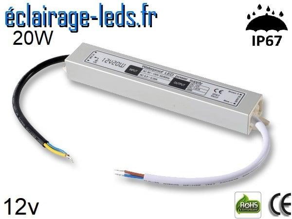 transformateur led 12v dc 20 watts ip67