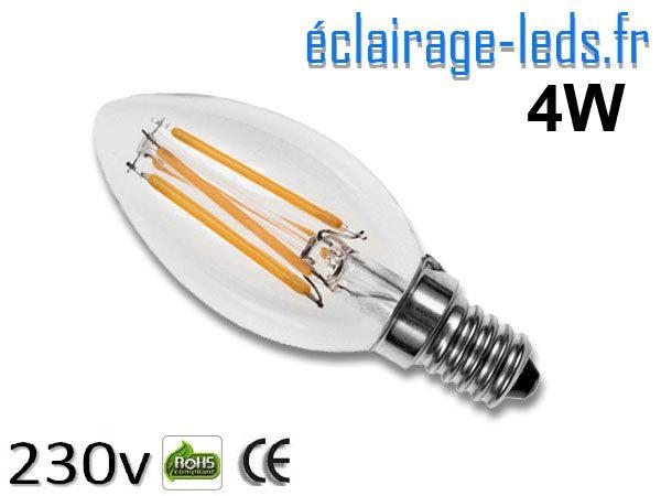 Ampoule led E14 flamme 4w Blanc Chaud
