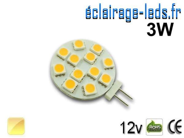 Ampoule led G4 12 led SMD 5050 blanc chaud 12v