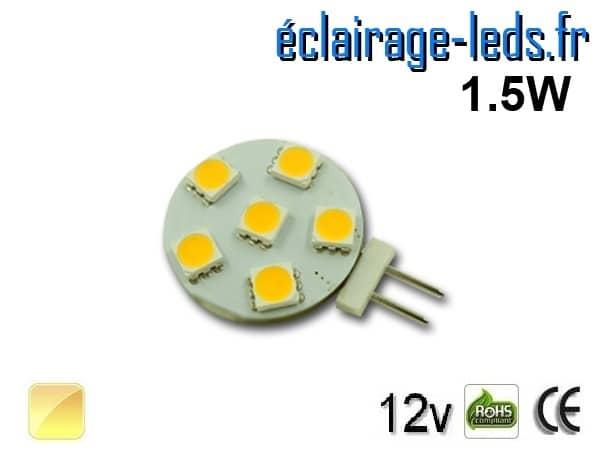 Ampoule led G4 6 led blanc chaud 12v
