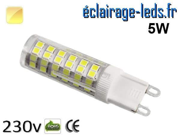 Ampoule LED G9 5w blanc chaud 230v