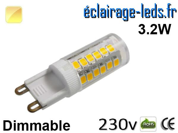 Ampoule LED G9 dimmable 3.2w blanc chaud 230v
