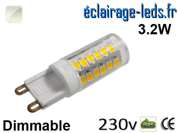 Ampoule LED G9 dimmable 3.2w blanc naturel 230v