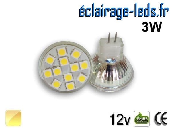 Ampoule led MR11 12 led 5050 blanc chaud