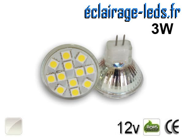 Ampoule led MR11 12 led blanc naturel 12v