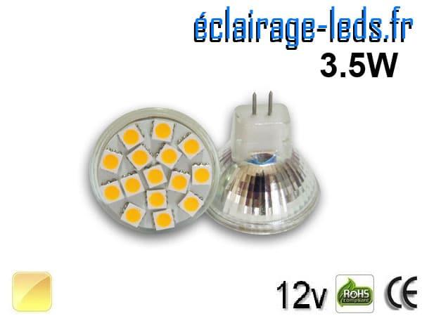 Ampoule led MR11 15 led blanc chaud 12v