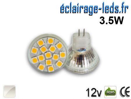 Ampoule led MR11 15 led SMD blanc naturel 12v