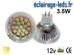 Ampoule LED MR16 18 led blanc chaud 12v 60°
