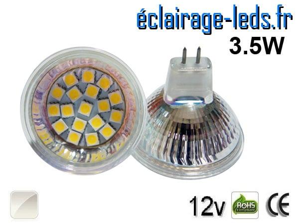 Ampoule LED MR16 18 led smd blanc naturel 12v 60°