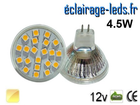 Ampoule LED MR16 21 led smd 5050 blanc chaud 12v