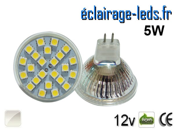 Ampoule LED MR16 24 led blanc naturel 12v