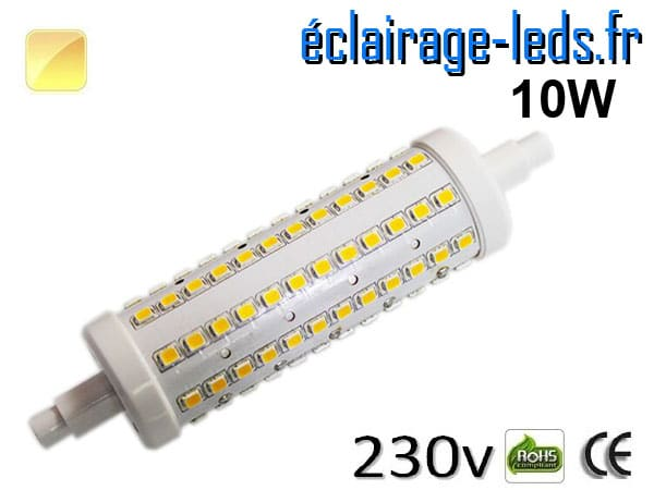 Ampoule LED R7S 10w smd 2835 118mm blanc chaud