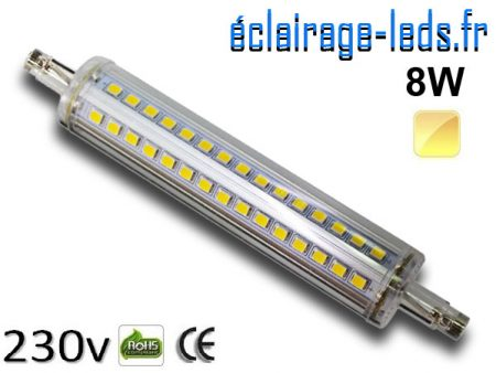 Ampoule LED R7S slim 8w smd 2835 118mm blanc chaud