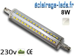 Ampoule LED R7S slim 8w smd 2835 118mm blanc naturel