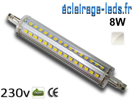 Ampoule LED R7S slim 8w smd 2835 118mm blanc naturel