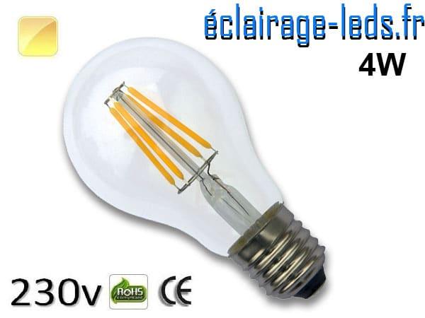 Ampoule led E27 4w COB Filament blanc chaud 2700K 230v AC ref e274-1