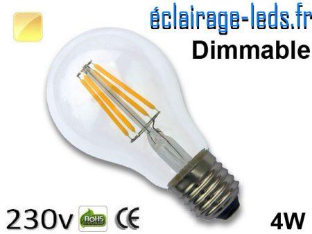 Ampoule led E27 dimmable 4w COB Filament blanc chaud 2700K 230v AC ref e274-2