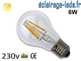 Ampoule led E27 6w COB Filament blanc chaud 2700K 230v AC