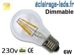 Ampoule led E27 dimmable 6w COB Filament blanc chaud 2700K 230v AC ref e276-2