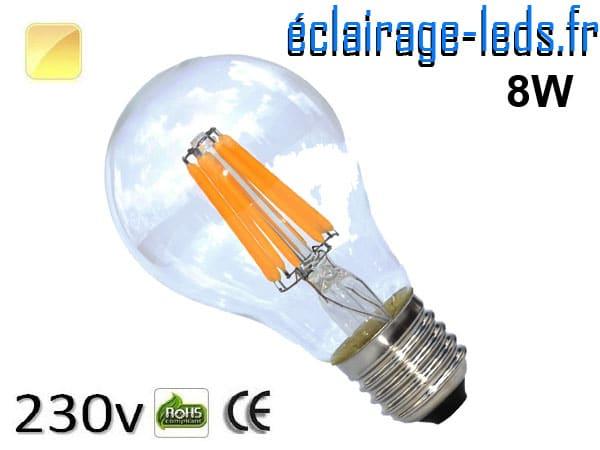 Ampoule led E27 8w COB Filament blanc chaud 2700K 230v AC ref e277-1