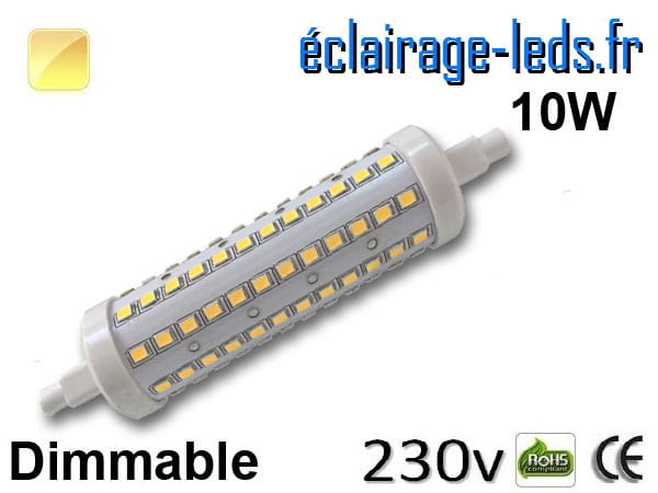 Ampoule LED R7S dimmable 10w 118mm blanc chaud