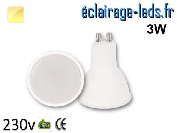 Ampoule LED GU10 3w blanc chaud 230v
