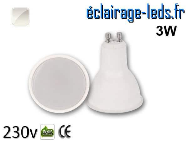 Ampoule LED GU10 3w blanc naturel 230v