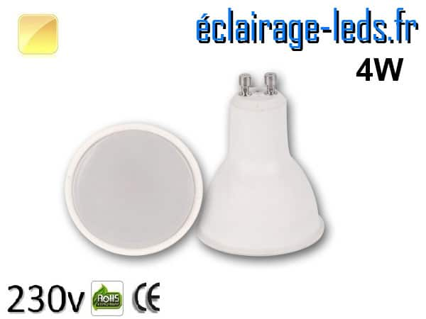 Ampoule LED GU10 4w blanc chaud 230v