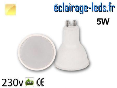 Ampoule LED GU10 5w blanc chaud 230v