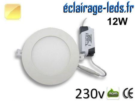 Spot LED 12W ultra plat SMD2835 blanc chaud 230v