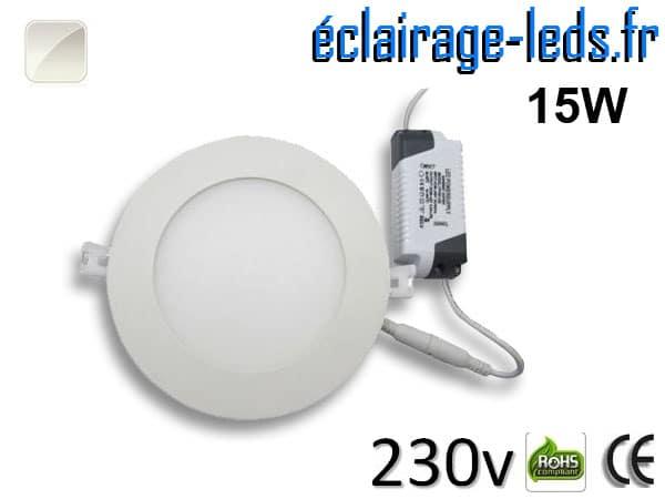 Spot LED 15W ultra plat SMD2835 blanc naturel 230v