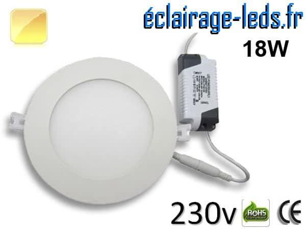 Spot LED 18W ultra plat SMD2835 blanc chaud 230v