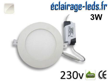 Spot LED 3W ultra plat SMD2835 blanc naturel 230v