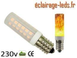 Ampoule LED E14 éclairage enflammé 230v