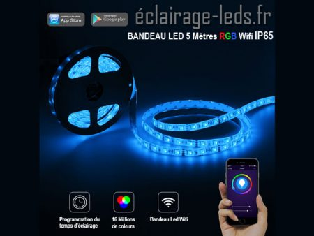 Bandeau à led couleur rgb 5m wifi ip65 12v