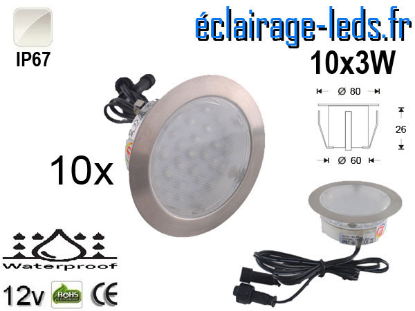 Kit 10 spots LED encastrables Mur et Sol blanc naturel 12v