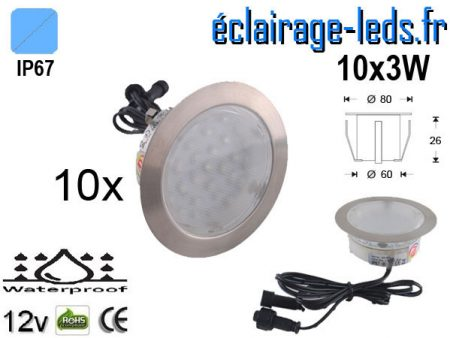 Kit 10 spots LED encastrables Mur et Sol bleu 12v