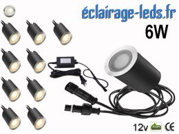 Kit 10 spots LED encastrables Mur et Sol 6w blanc 12v